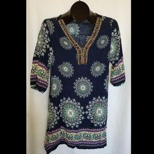 ACE Fashion Blue Floral Beaded Dress Size M